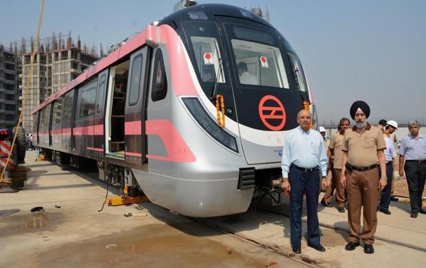 Pink Line Train at Mukundpur Depot - photo: Live Mint, used under Creative Commons License (By 2.0)