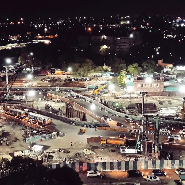 Construction on Chennai Central Metro Station at Night - photo copyright Afcons Infrastructure Ltd
