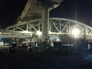 Pink Line Steel Bridge Being Pushed- photo copyright: DMRC