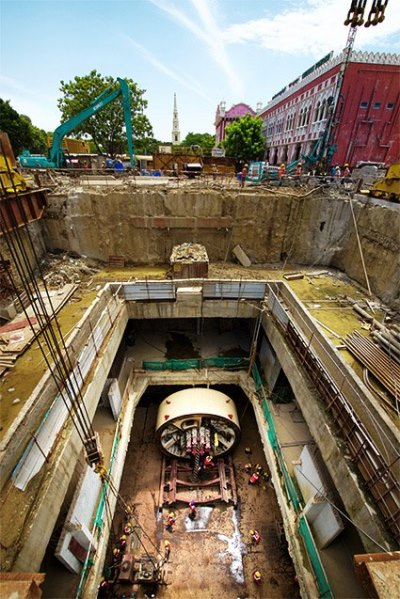 View of the TBM shaft from a crane - Photo Copyright: Jurgen Mick