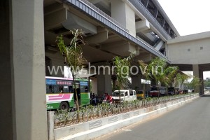 Landscaping on median beneath Uppal Station - photo: HMR