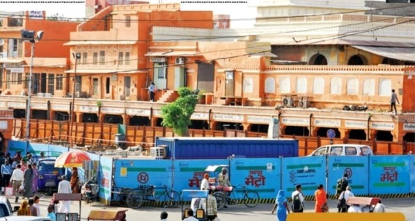 Barricades at Badi Chaupar Metro Station - Photo Copyright: Times of India