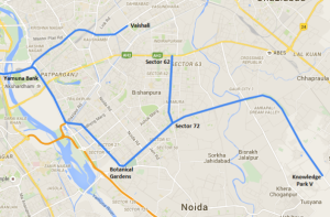 Route of Blue Line's Extension to Knowledge Park in Greater Noida