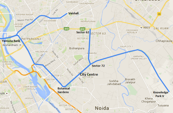 Blue line extension from Noida City Centre to Knowledge Park V