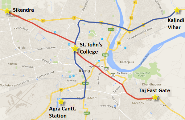 Proposed lines of Agra's Metro system