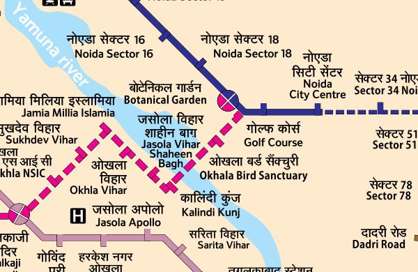 Route of Magenta Line to Noida's Botanical Garden station