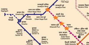 Route from Janakpuri W station to Palam station in southwest Delhi - Courtesy DMRC - full full map