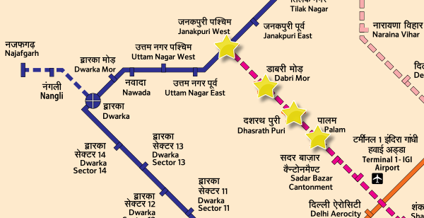Route from Janakpuri W to Palam in southwest Delhi - Courtesy DMRC - full full map