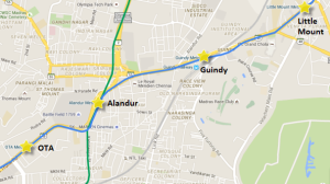 Route of OTA - Little Mount section of Chennai's metro - view full map