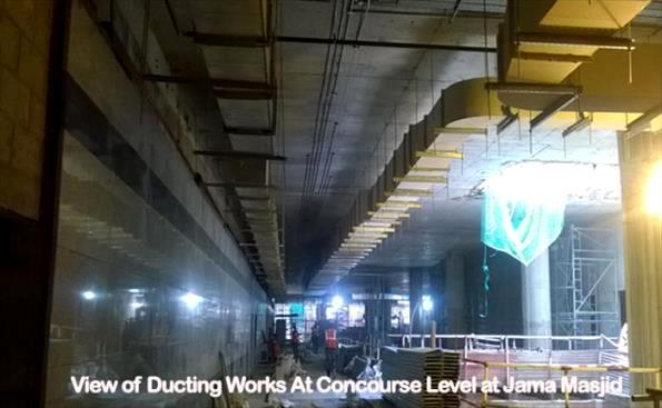 Tiling laying in progress within the Jama Masjid station - Photo Copyright: DMRC