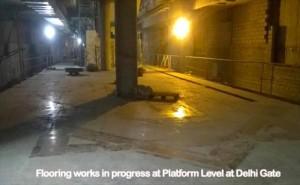 Floor work in progress at the Delhi Gate station - Photo Copyright: DMRC