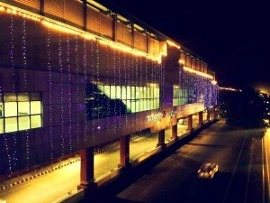 Escorts Mujesar station lit up to celebrate -  Photo Copyright Fariabad Metro - FB