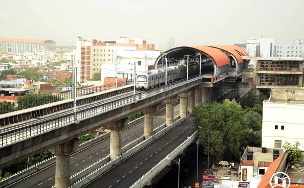 Jaipur Metro's double decker viaduct on Ajmer Road - Photo Copyright JMRC