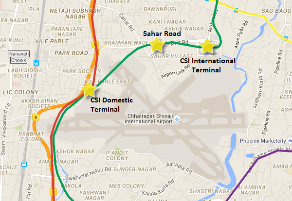 Location of 3 stations in Airport premises