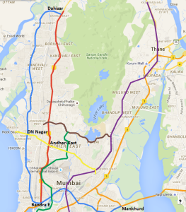 Mumbai Metro Map showing Dahisar-DN Nagar line in Blue and Dahisar East -Andheri East line in Red