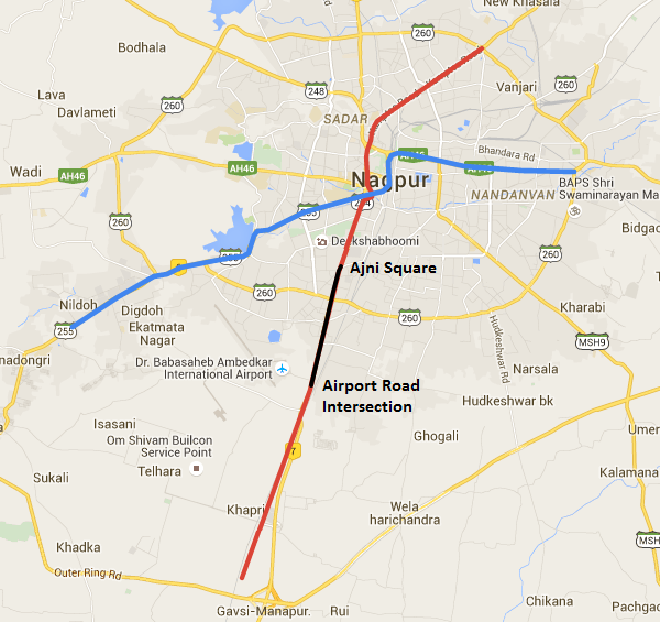Location of Nagpur's Double Decker viaduct