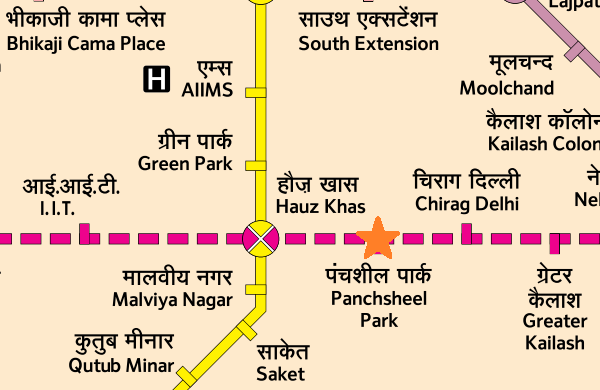 Location of Panchsheel Park station - Map courtesy DMRC - view full map