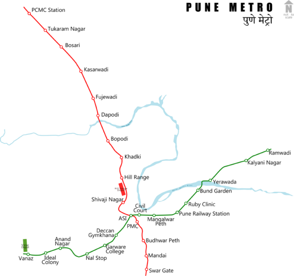 Pune Metro Route Map - Courtesy ArjunCM3