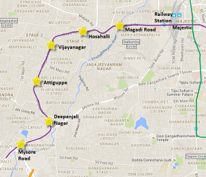 Actual Alignment of Reach 2 from Mysore Road to Magadi Road