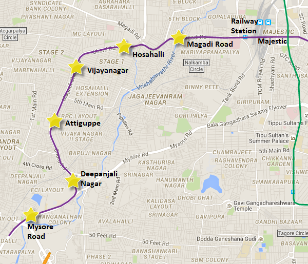 Alignment of Reach 2 from Mysore Road to Magadi Road