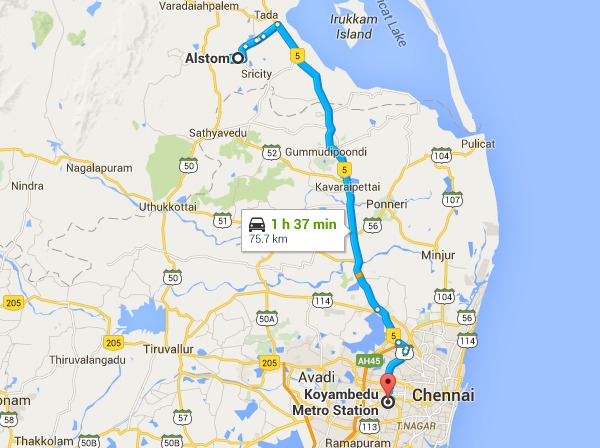 Route from Alstom's plant in Sri City,AP to Koyambedu Depot in Chennai