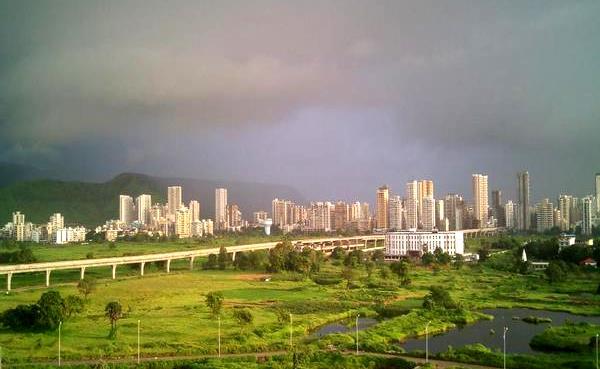 Navi Mumbai's Line 1 with Taloja skyline - Photo Copyright: flypigmk