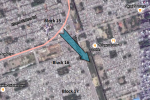 Route of Pink line. Arrow points to location where Block 15 residents are proposed to be rehabilitated