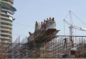 Delhi's New Magenta line under construction at Amity Chowk in Noida - Photo Copyright: Reuters