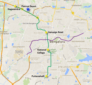 Map showing sections of Bangalore Metro's Green line