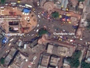 Satellite view of metro shaft & Chandpole Gate