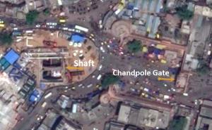 Satellite view of metro shaft & Chandpole Gate
