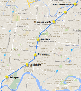 Section of Chennai Metro's Line 1 from Saidapet to Government Estate - view full map