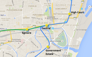 Route of Egmore-Central section - view full Chennai Metro map