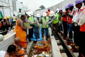Puja being conducted on the ramp - Photo Copyright: CMRL