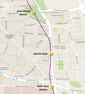 Alignment of Violet line showing the stations & Golcha shaft