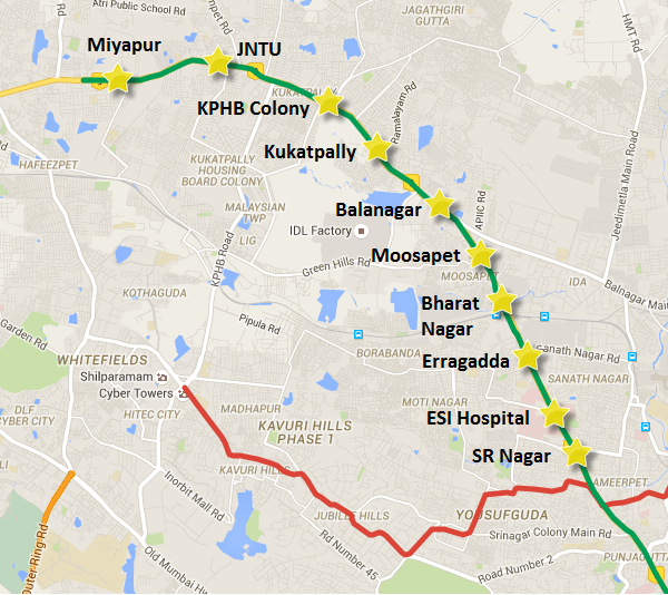 Route of Miyapur - SR Nagar section of the Miyapur-LB Nagar line - view full Hyderabad Metro map