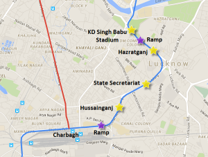 Location of underground stations on Lucknow's Metro
