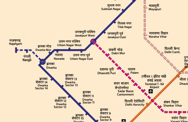Najafgarh line's route - Map Courtesy DMRC - full full map