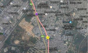 Yellow star - Naraina Vihar station ; Purple star - Mayapuri Shaft