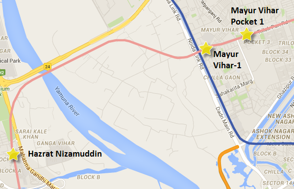 Pink line between Ashram & Trilokpuri