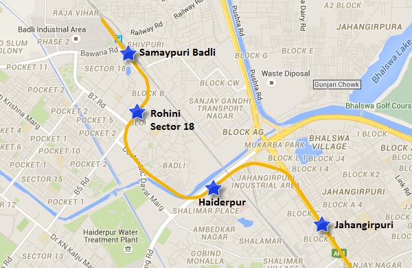 Route of Jehangirpuri-Samaypur Badli line