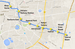 Alignment of the under construction section between Apparel Park and Vastral Gam