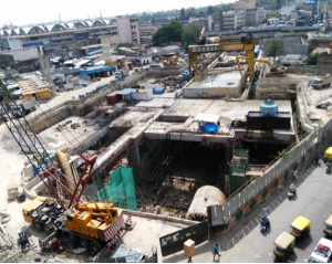 TBM Krishna shot at the north-end of Chikpet station is about to start tunneling - Photo Copyright: BMRCL