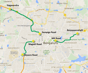 Operational sections of Bangalore's Metro after Reach 2 opens