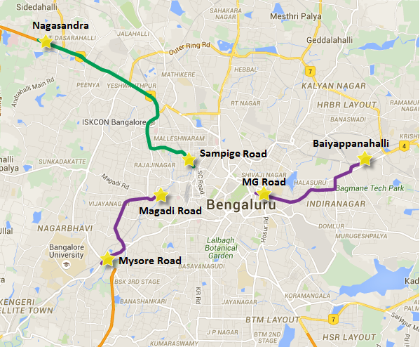 Operational sections of Bangalore's Metro once Reach 2 opens