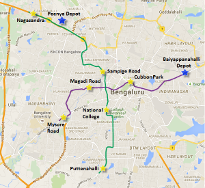 Different sections of Bangalore Metro's Phase 1 Project