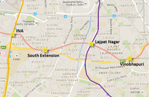 Alignment of South Ex - Lajpat Nagar section
