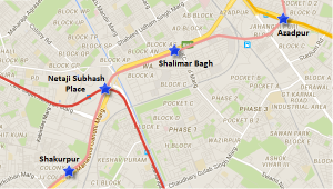 Route of Netaji Subhash Place - Shalimar Bagh section of the Pink line