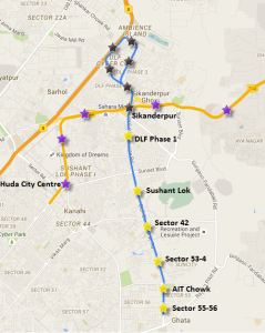 Yellow stars - Stations along the Gurgaon Metro's under construction 7 km southern extension