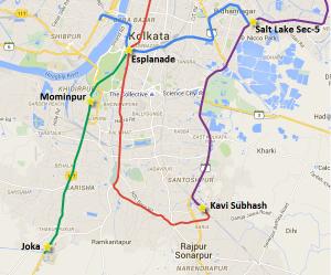 Location of the Mominpur station on the Joka-Esplanade metro line